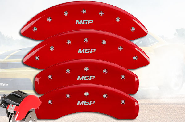 MGP Caliper Covers 23213SMGPRD Red Powder Coat Finish MGP Engraved Caliper Cover with Silver Characters, Set of 4