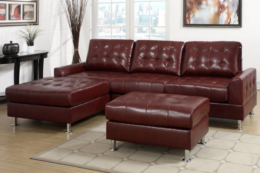 Modern Classic Burgundy Red Tufted Sectional Sofa