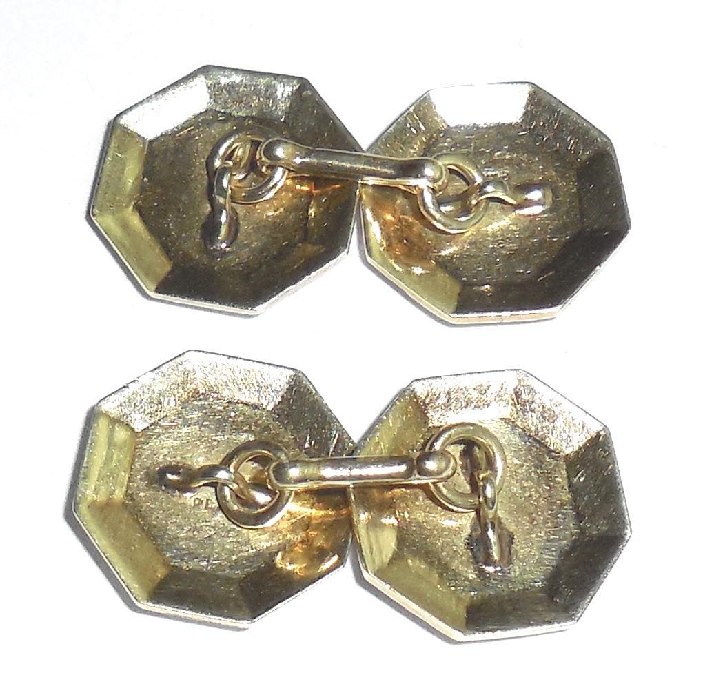 Antique Art Deco Platinum Octagon Mens Cufflinks Repoussed