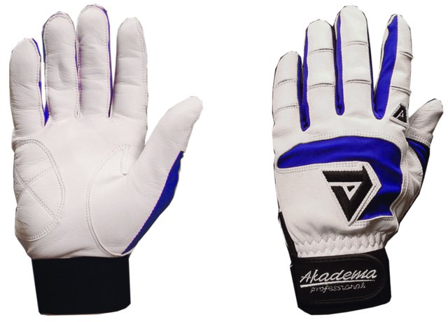 Akadema White/Royal Blue Professional Batting Glov