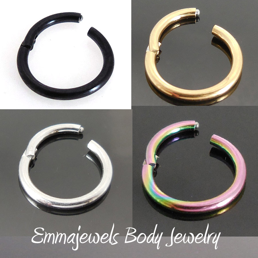16g 10mm Or 8mm Hinged Septum Clicker Nose Ring Segment Ear