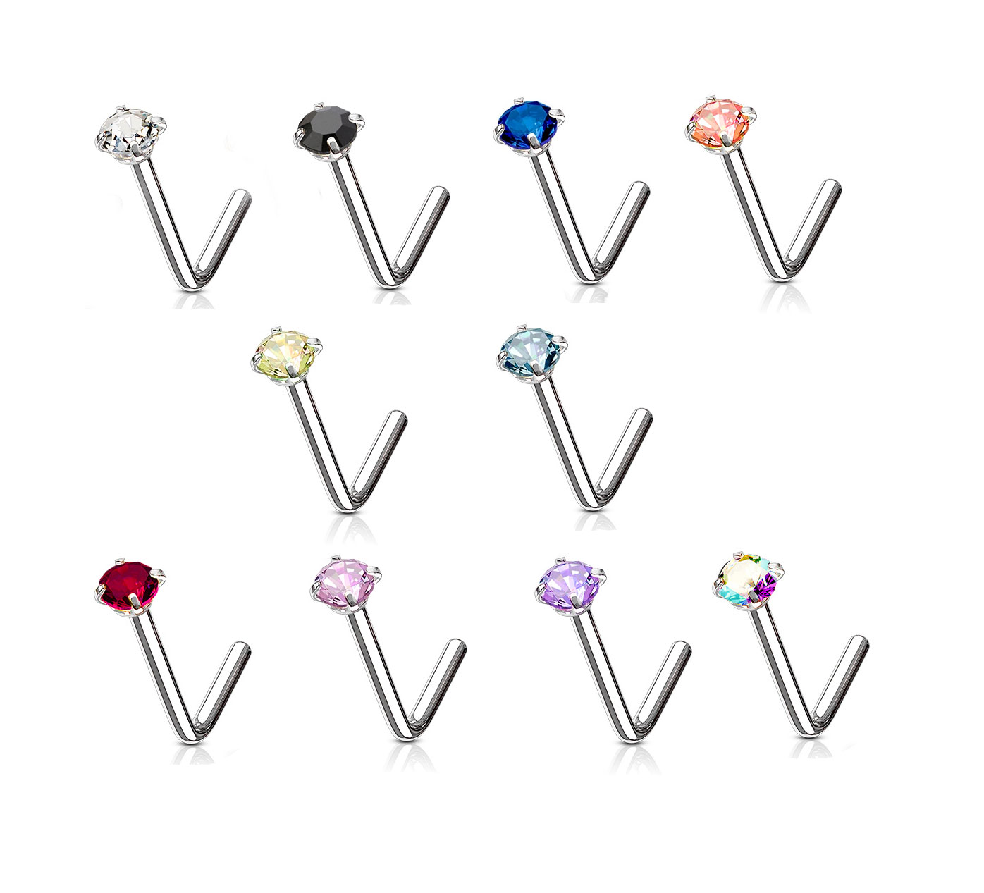20g 2mm Clear Cz Gem Prong Set L Bend Surgical Steel Nose Ring Stud Piercing Pin Factumevent Com