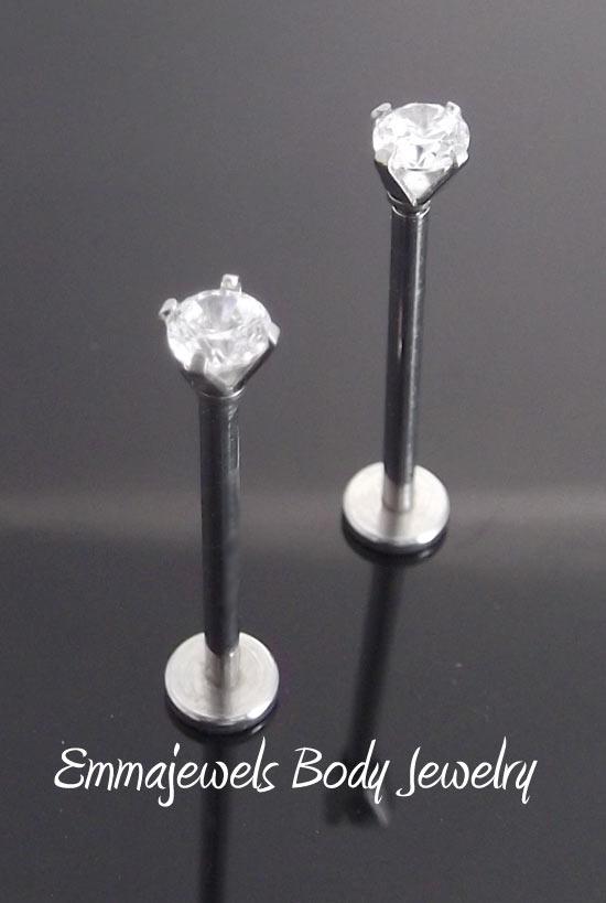 New pair 16g 14mm 16mm 19mm cheek piercing stud jewelry for Plastic cheek piercing jewelry