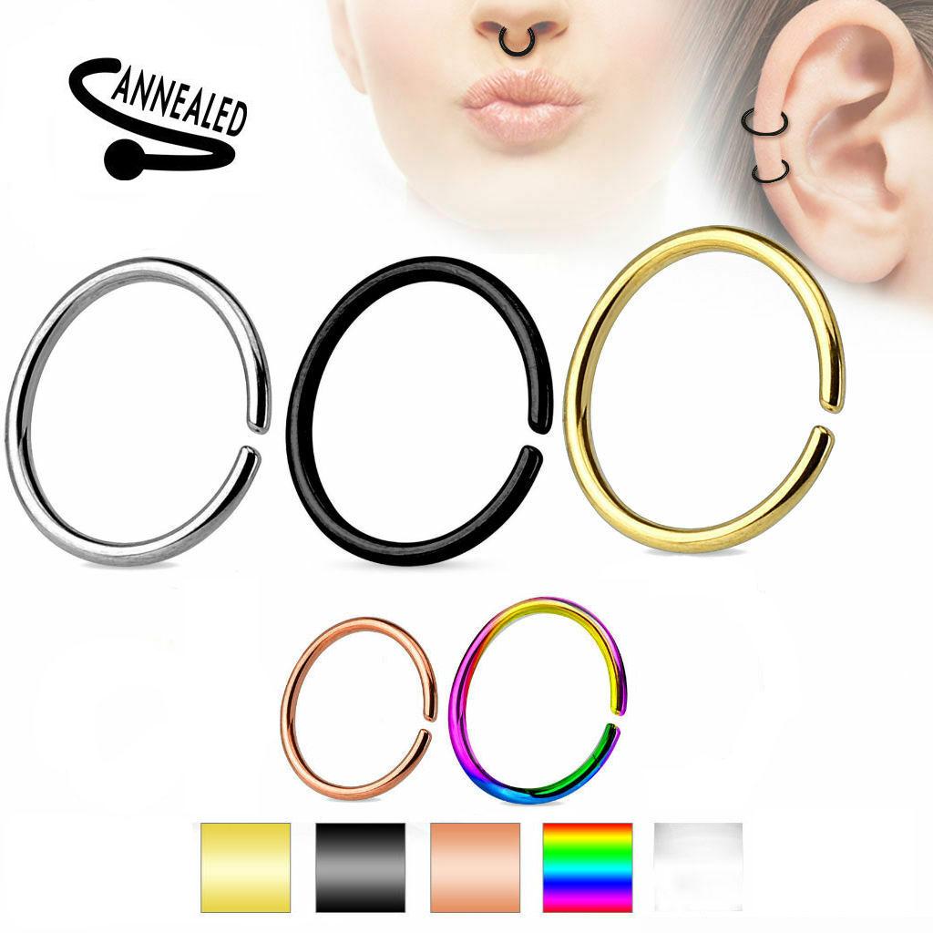 7-Color Set Annealed Bendable Titanium Anodized Steel Nose Septum Cartilage Ring Hoops