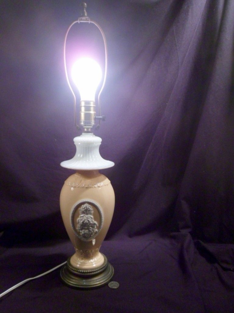 Brass Base Early to Mid 20th Century Ceramic Lamp 23 Tall White Floral Panel Working