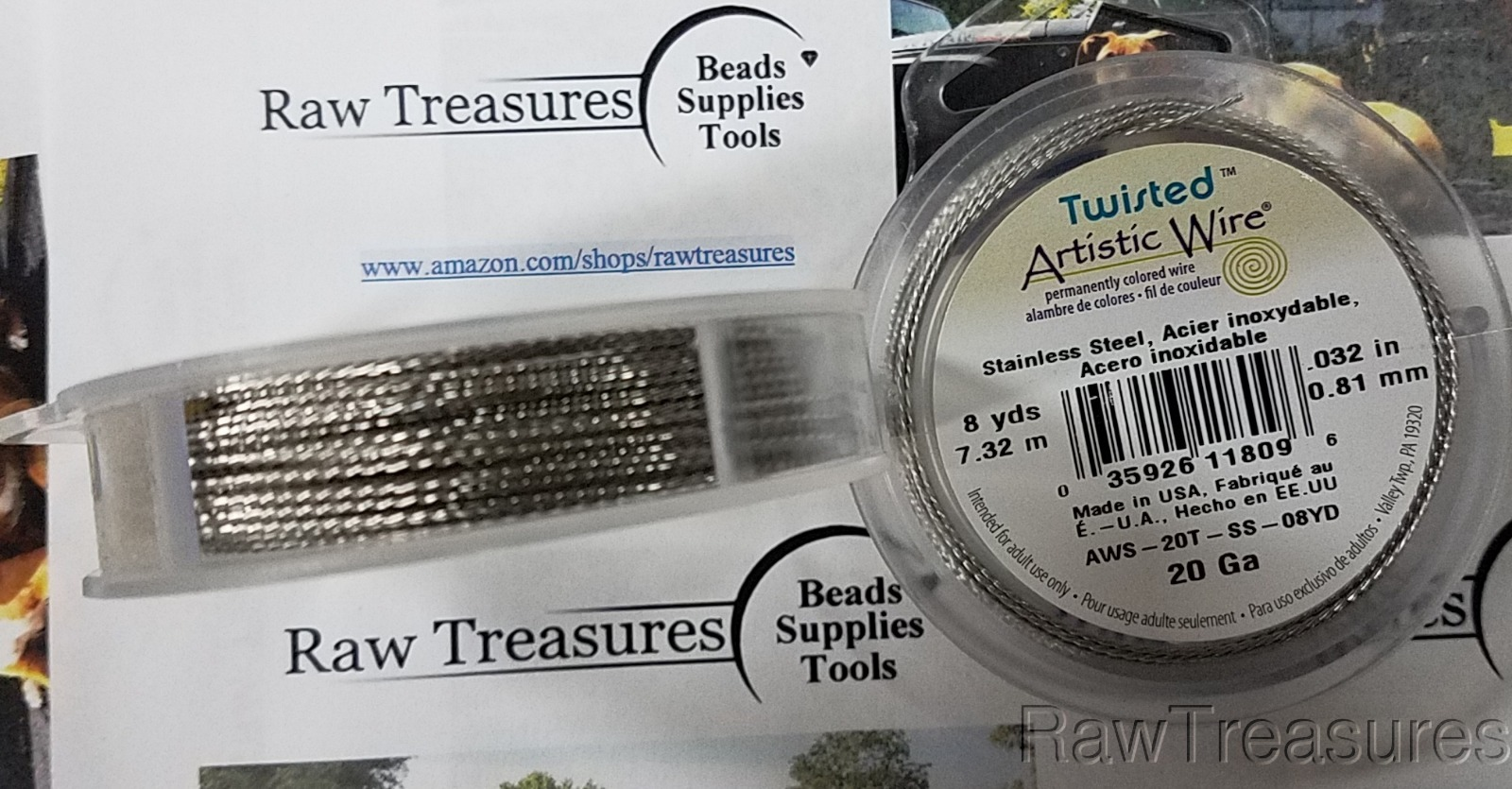 20 gauge Solid Stainless Twisted Round - 8 yards_