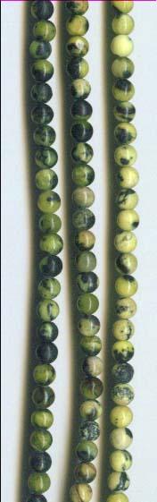 4mm Yellow Turquoise Natural Gemstone Round Beads
