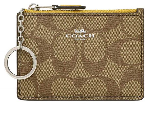 Coach Signature Mini Skinny ID Wallet Coin Key Pou