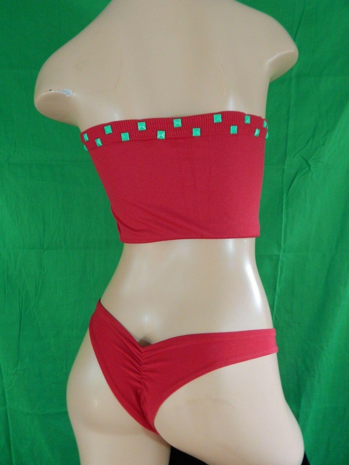 Red beandeu Two Piece Exotic Dancewear