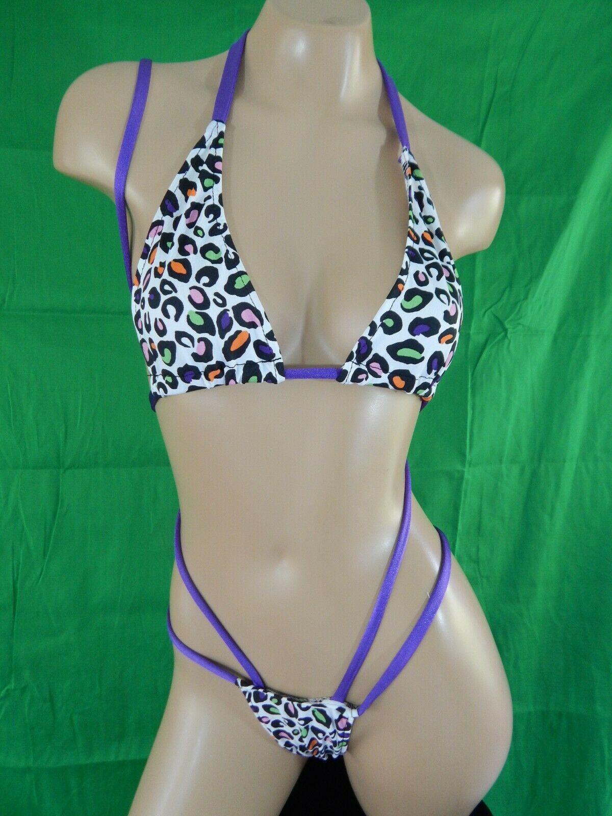 Zombikinis 2 piece exotic dancer stripper set  multi color sequins
