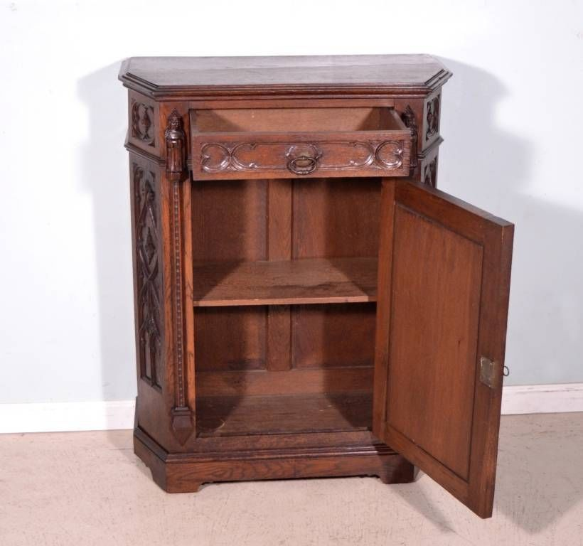 French Antique Neogothic Cabinet Carved Neo Gothic Bar Cabinet Console Sideboard Yesteryear