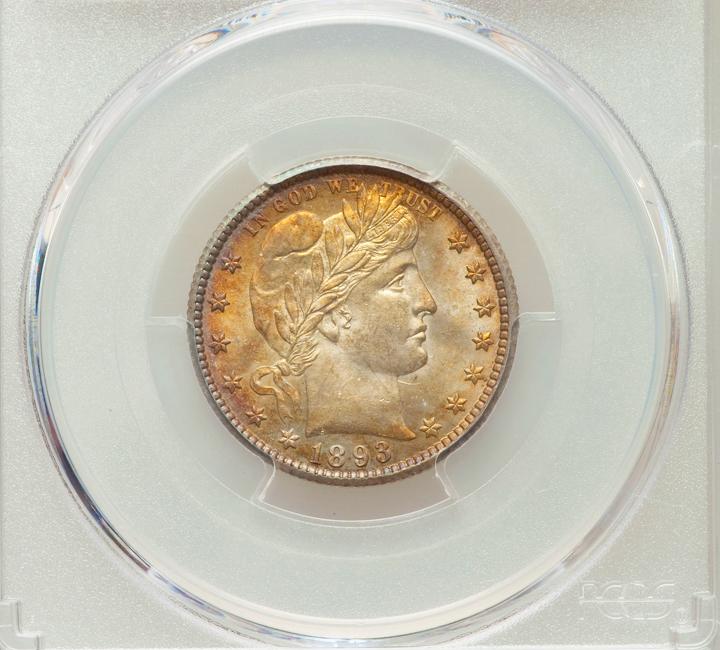 1893 O Barber Quarter PCGS MS63 Stunning Toned Coi