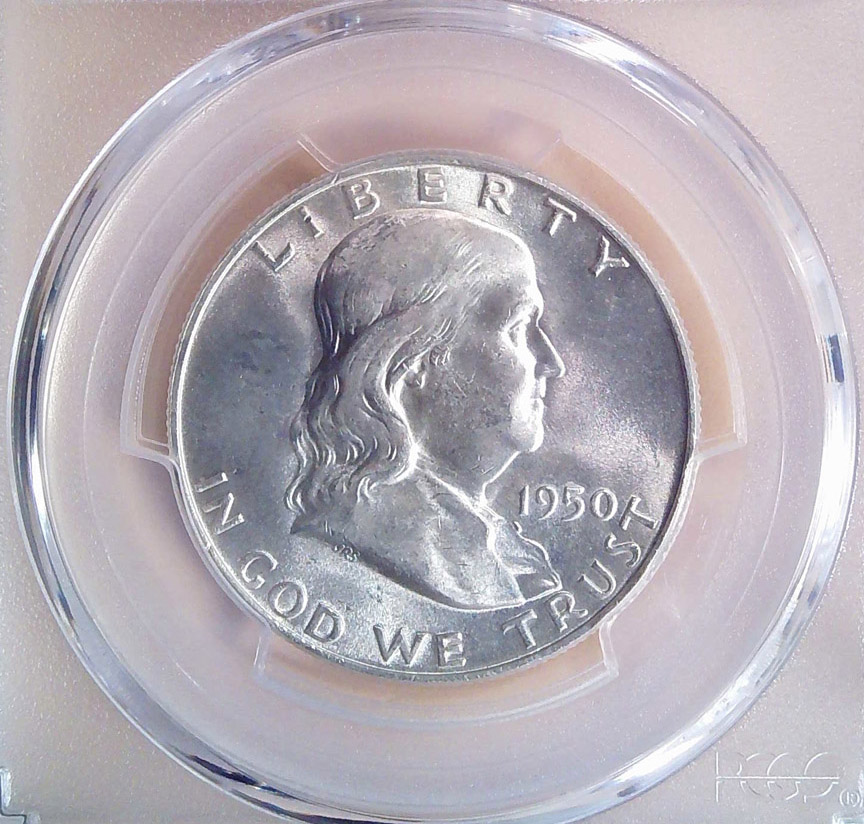1950 D Franklin Half Dollar PCGS MS64FBL