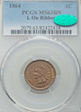 "1864 Indian Head Cent  ""L"" ON RIBBON PCGS MS63BN C"