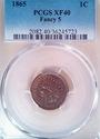 1865 PCGS XF40 Fancy 5 Indian Head Cent - Excellen