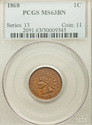 1868 Indian Head Cent PCGS MS63BN EXCEPTIONAL