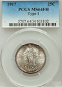 1917 Type 1 Standing Liberty Quarter PCGS MS64FH F