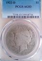 1922 D Peace Dollar $1 PCGS AG3 - Lowball Registry