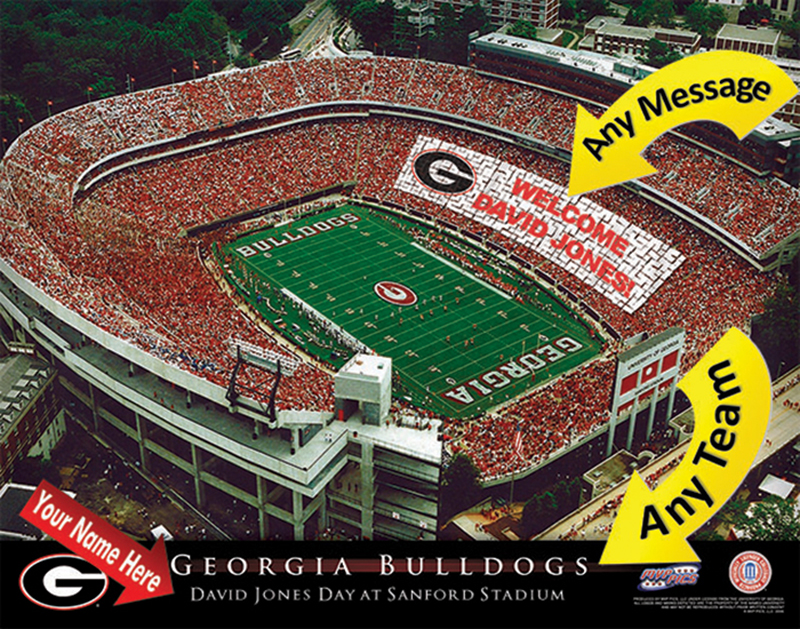 69df7d933 New NCAA University of Georgia Bulldogs Football Stadium Personalized Print