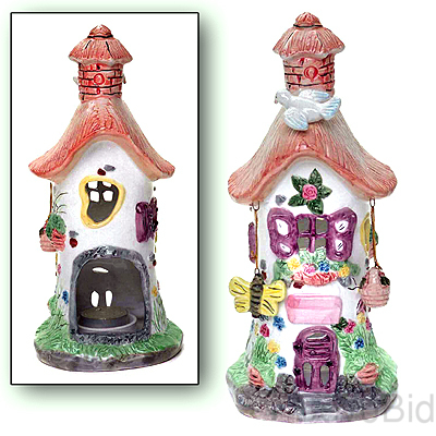 CERAMIC THATCHED ROOF TEALIGHT RETREAT HOUSE w/o C