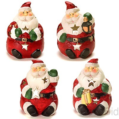 Christmas Santa Figurines/Tealights - Holiday Deco