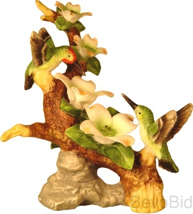 Double Hummingbird on Dogwood Figurine- NEW