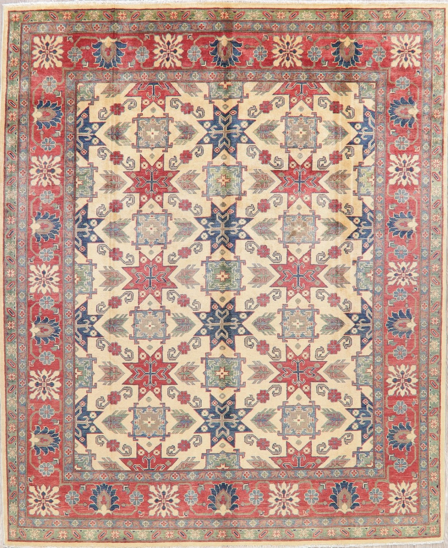 Super Kazak Rugs Oriental Geometric Hand Knotted Carpet 8 X 10 Ivory Ebay