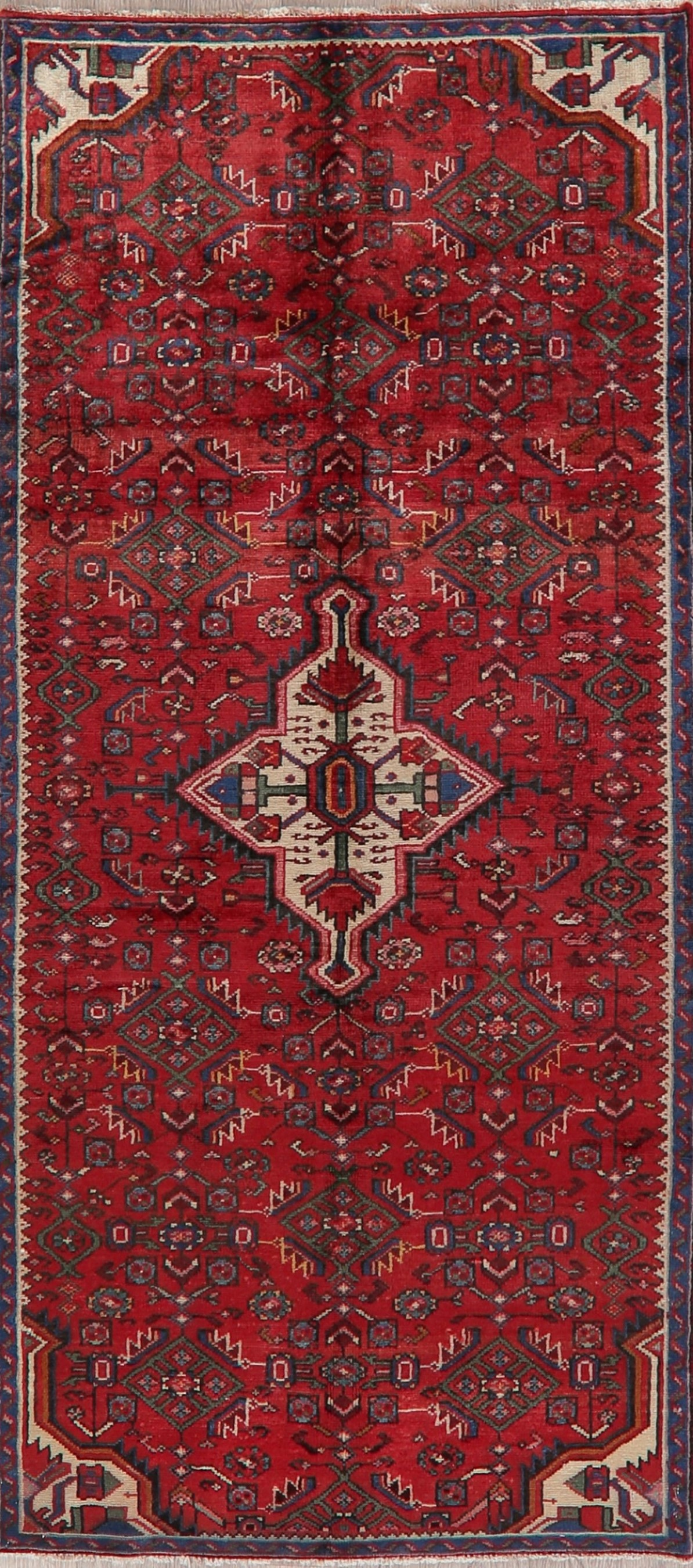 Details About Vintage Geometric Oriental Wool Runner Rug Traditional Hand Knotted Carpet 4x8