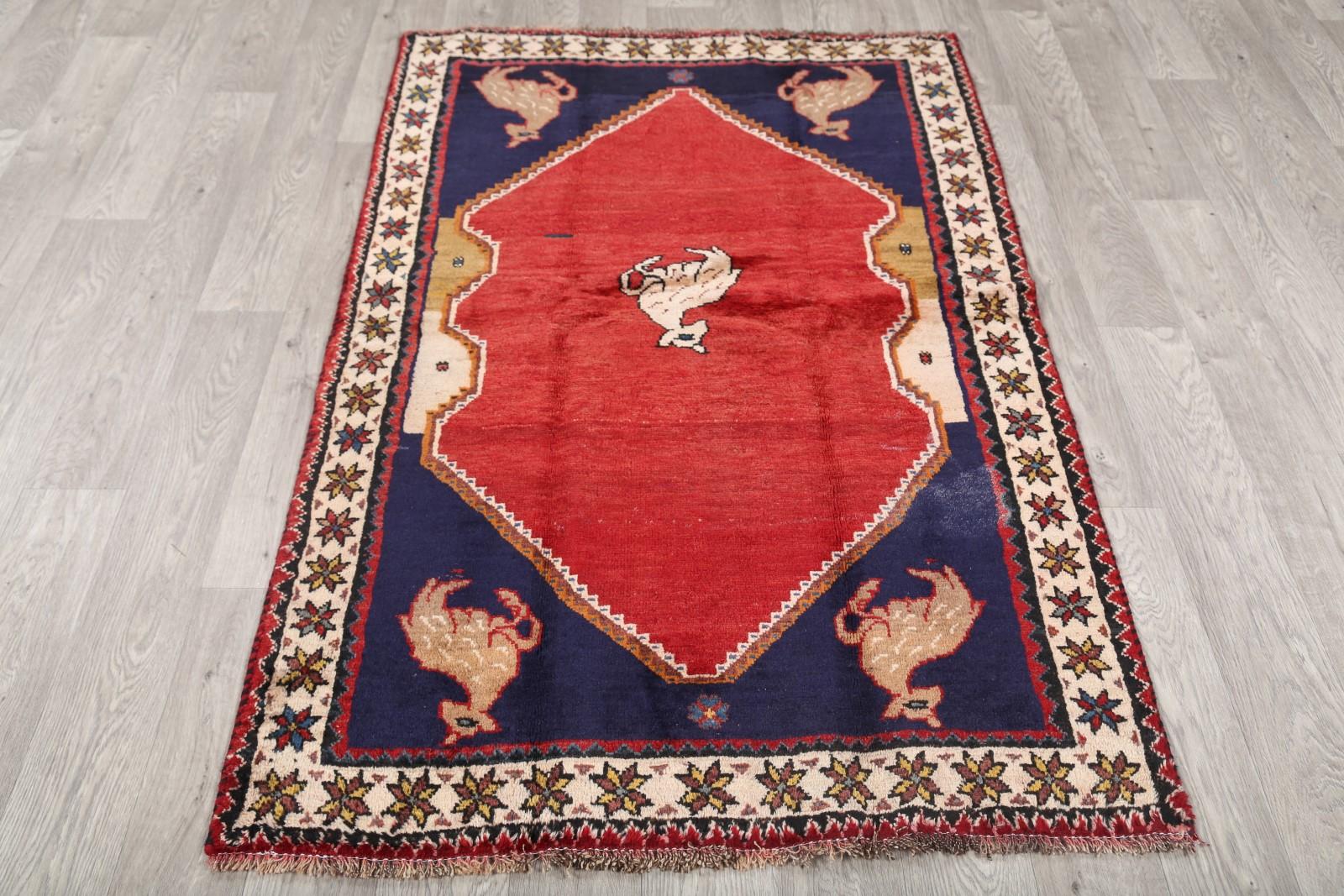Animal Pictorial Gabbeh 4x6 Persian Area Rug Wool Oriental