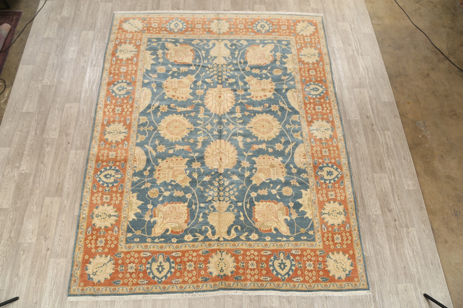 Grand All Over Floral Vegetable Dye 8x10 Teal Blue Wool