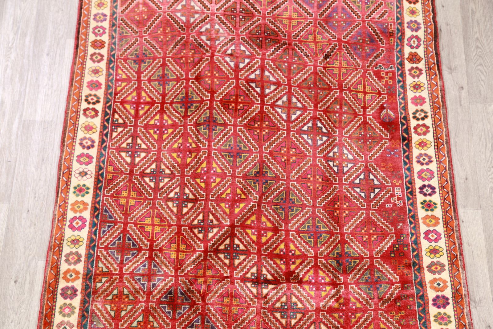 Outstanding Hand Knotted Geometric Tribal 5x8 Red Wool
