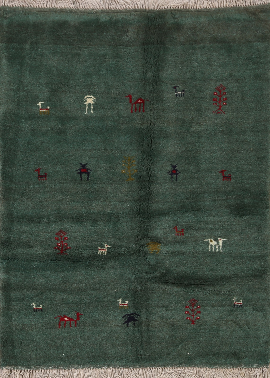Tribal Green Gabbeh Little Character Animals Area Rug Handmade Wool Carpet 3x5 Ebay