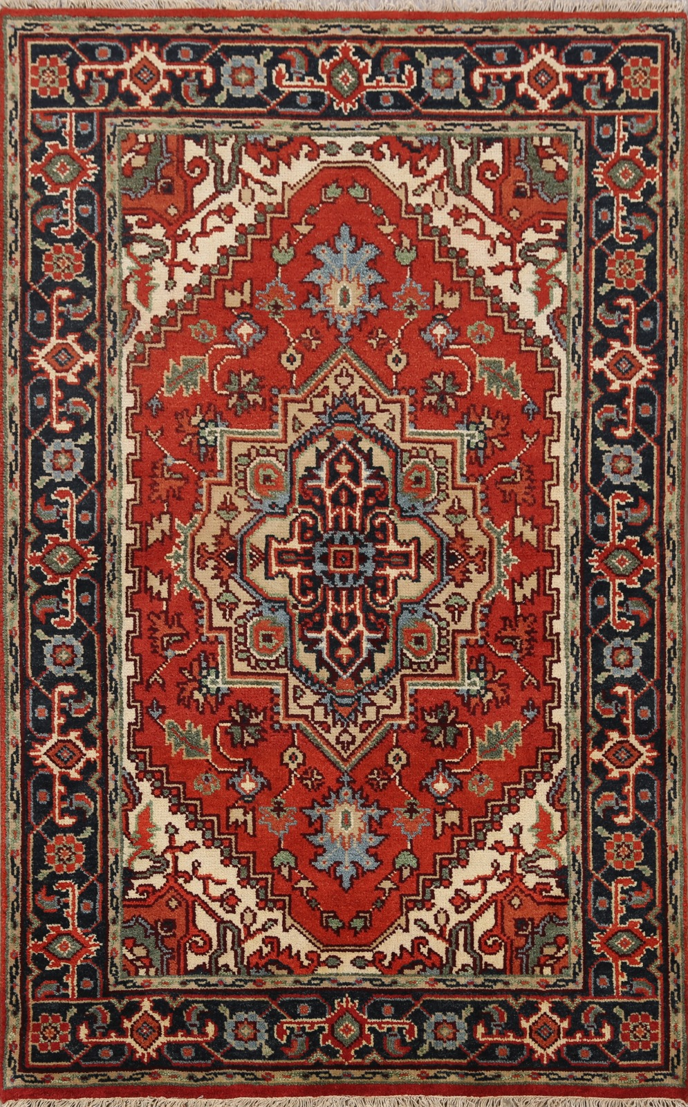 Geometric Rust Red Navy Blue Hand Knotted Wool Heriz Oriental Area Rug 4x6 Ft Ebay