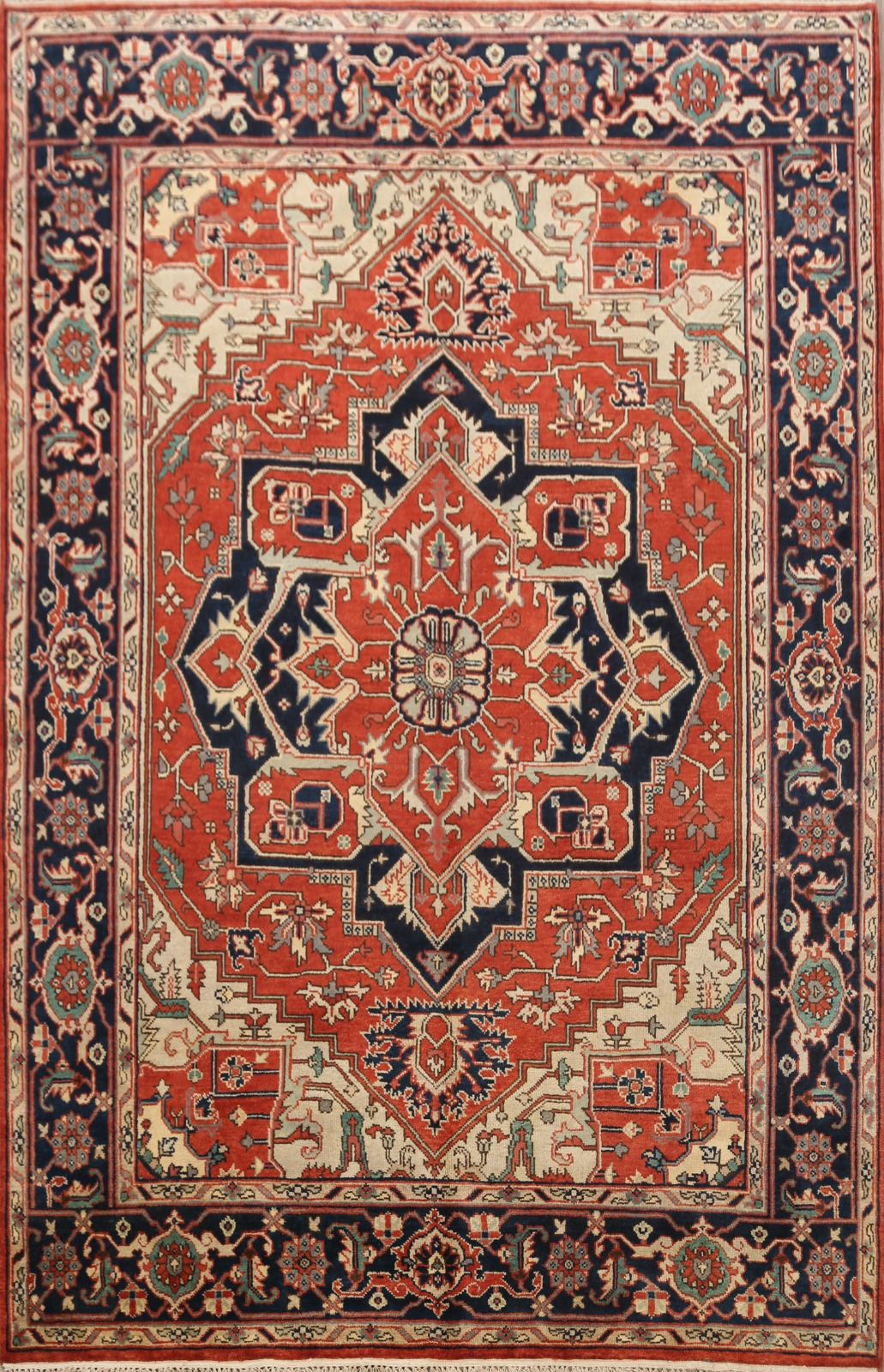 Geometric Rust Red Navy Blue Heriz Oriental Area Rug Hand Knotted Wool 8x10 Ft Ebay