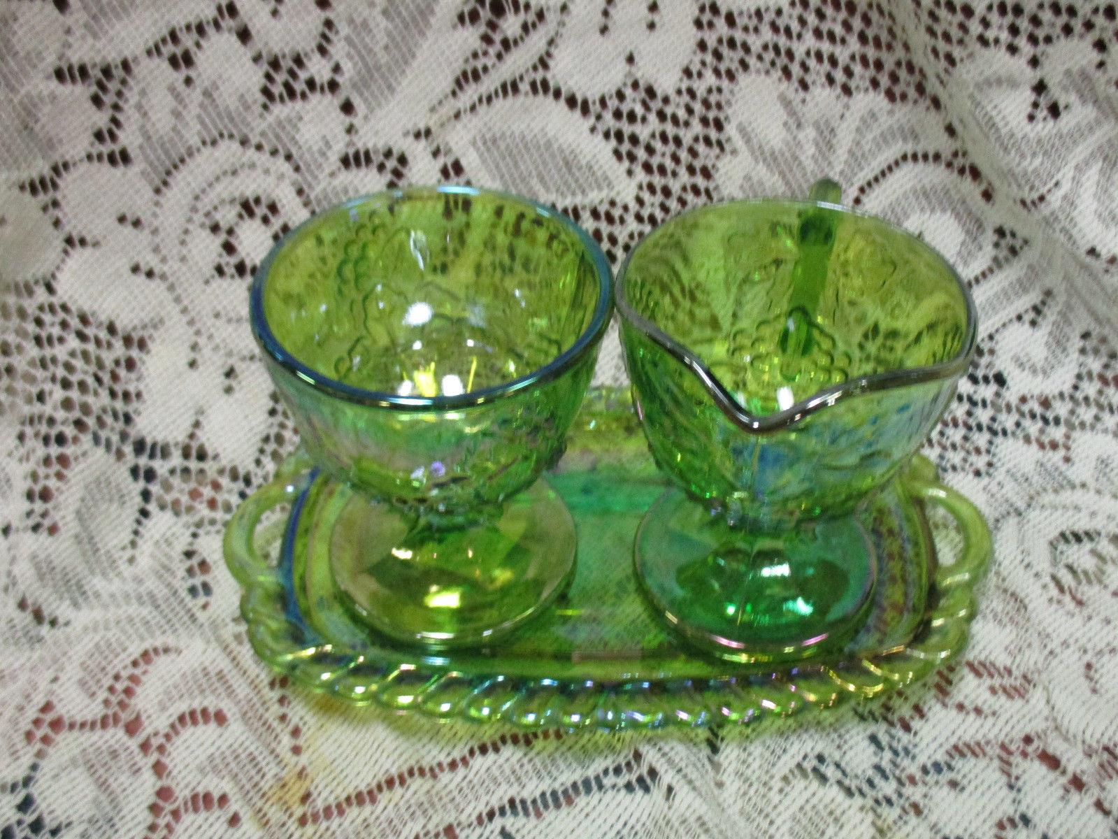Iridescent Lime Green Raindrop Beaded Curtain: Lime Green Iridescent Carnival Glass Harvest Grape Creamer