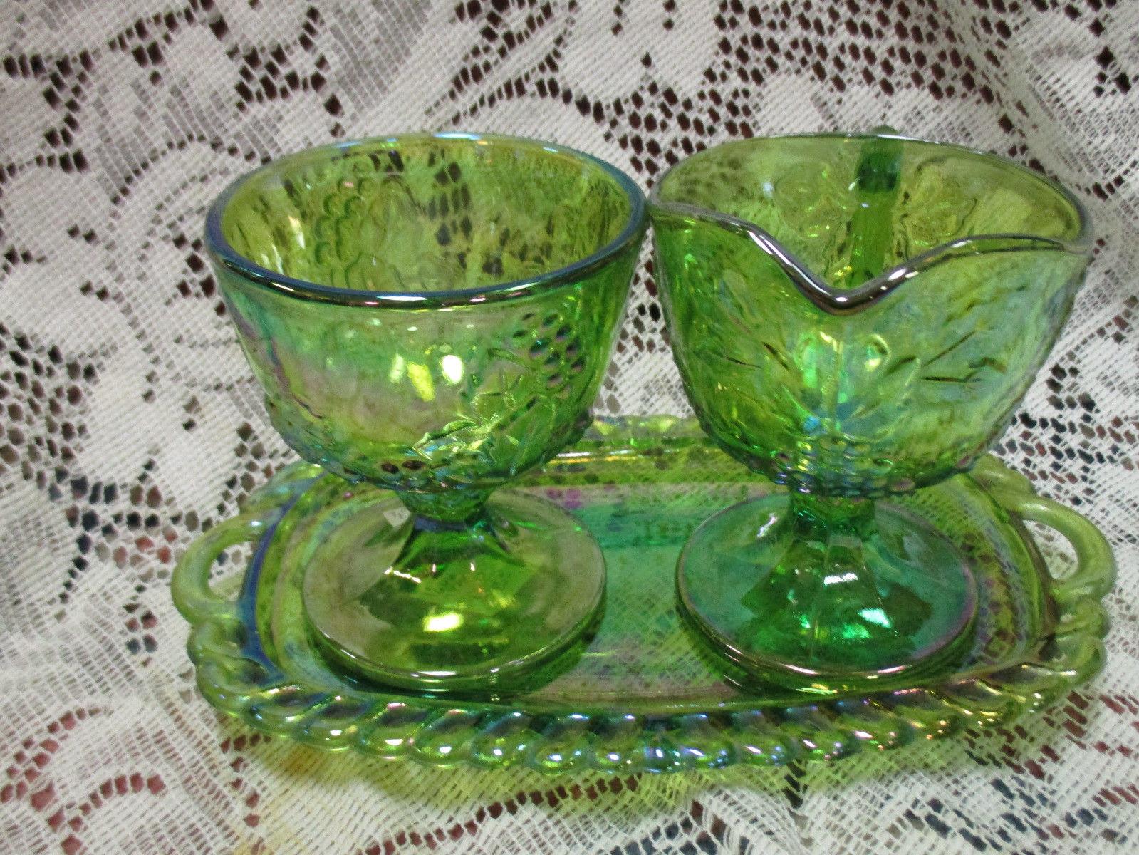 Lime Green Iridescent Carnival Glass Harvest Grape Creamer