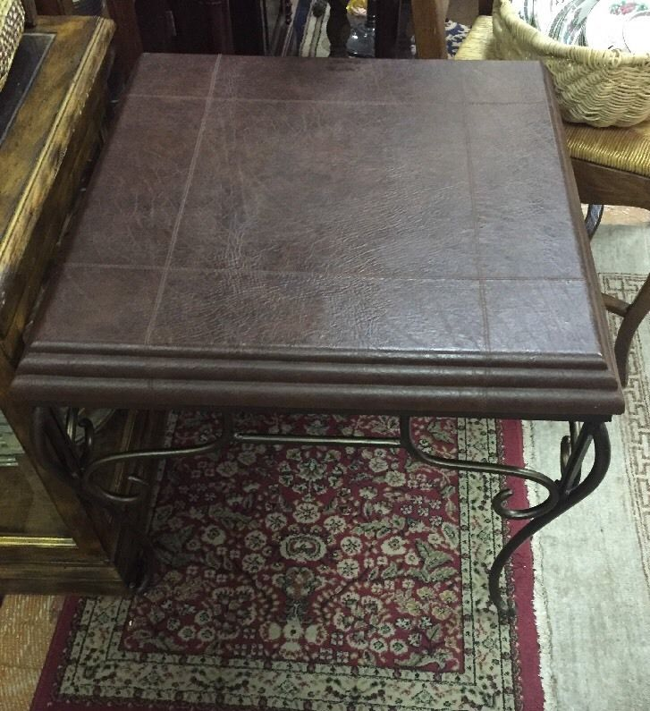Coffee Table With Leather Top: Contemporary Coffee Side Table With Leather Top And Metal