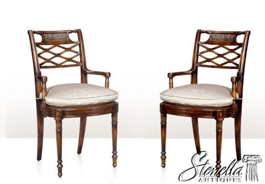 L47007 Theodore Alexander Pair Regency Mahogany Arm Chairs 4100