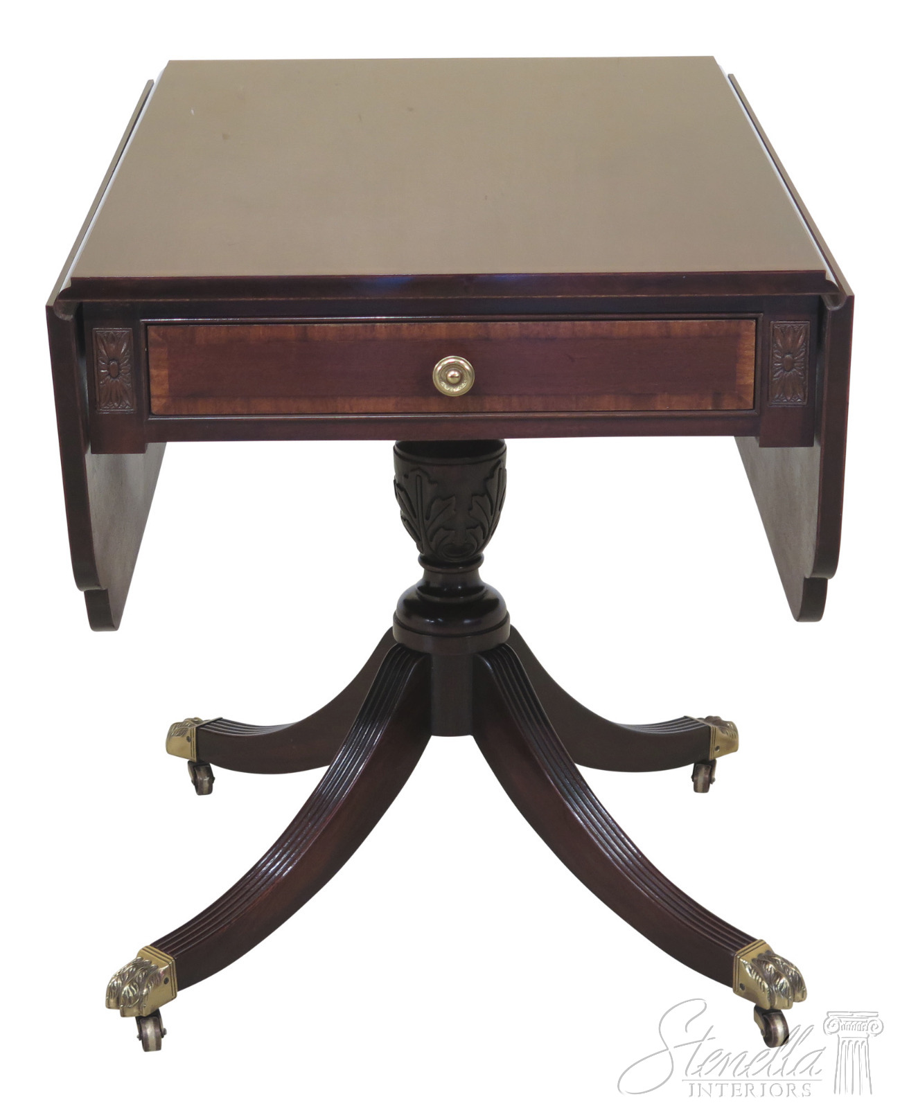 46089ec Drop Leaf Mahogany Duncan Phyfe Large 1 Drawer Occasional Table Ebay