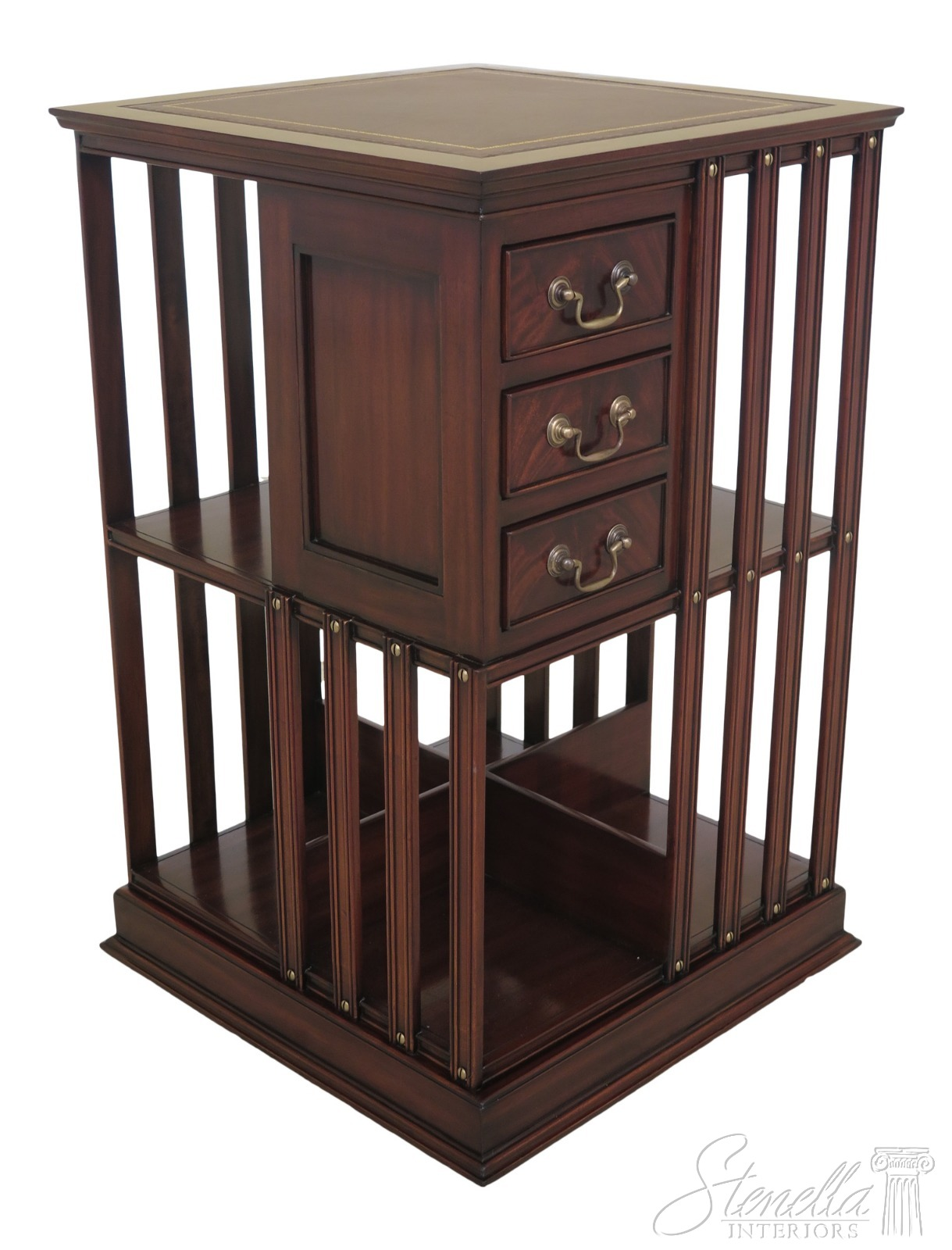 Details About 47316ec English Style Leather Top Revolving Mahogany Bookcase New