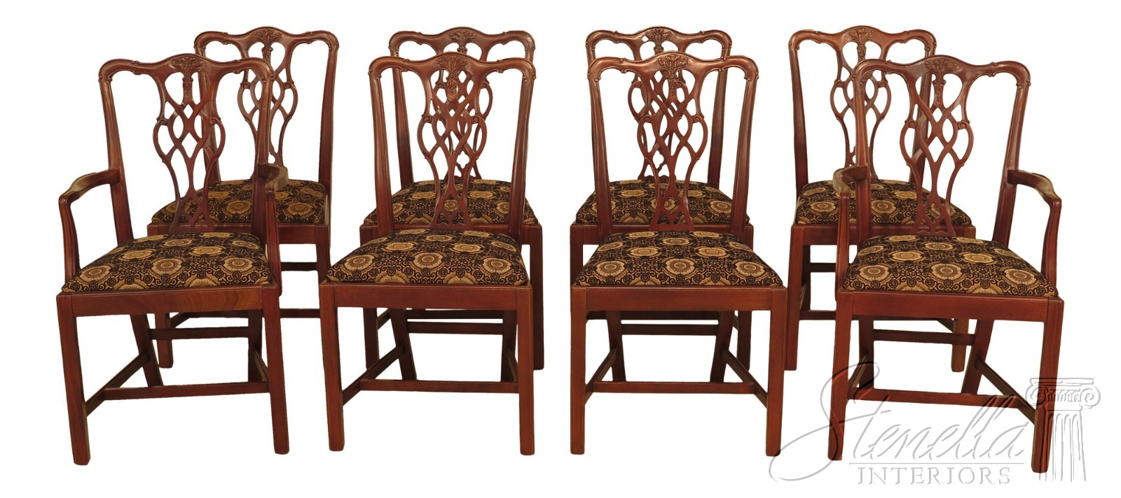 L46505ec Set Of 8 Hickory Chair Co Chippendale Mahogany