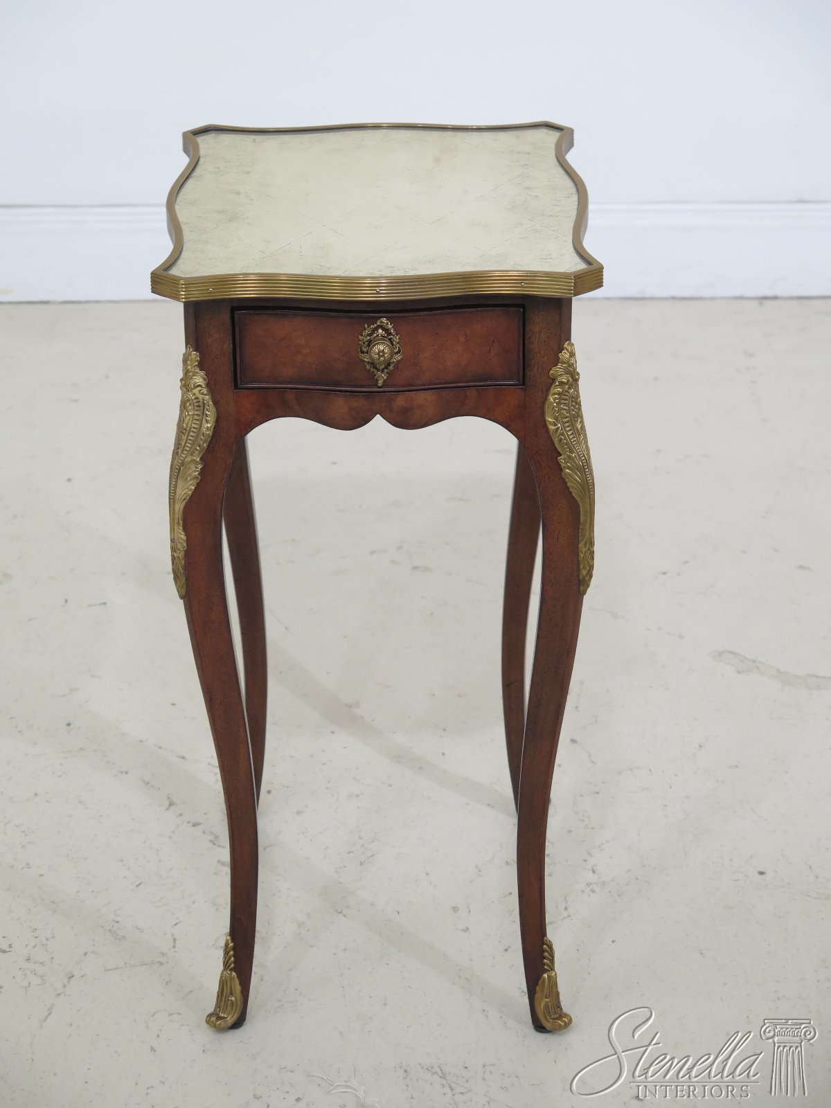 46894ec Theodore Alexander Mirrored Top French 1 Drawer End Table