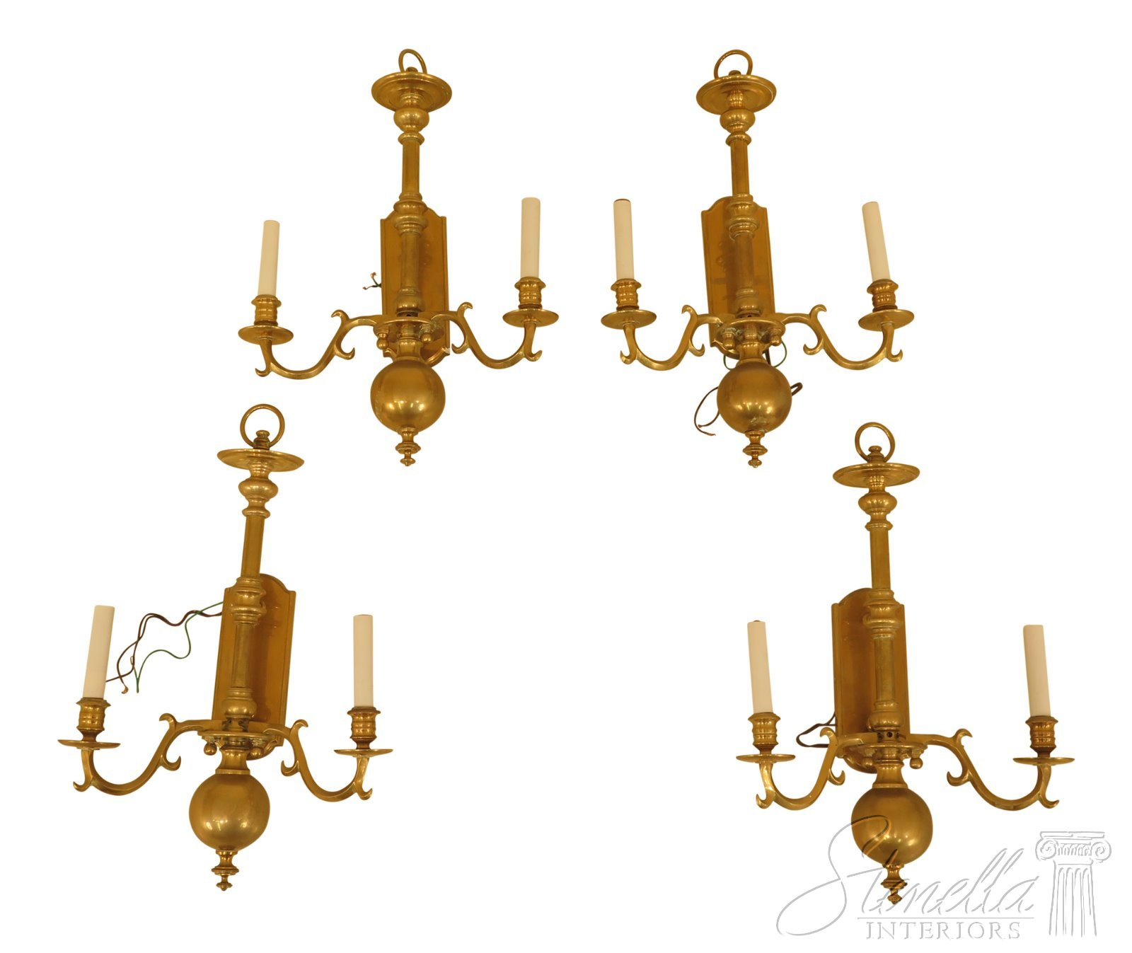 newest collection d1c44 9d145 Details about F30492EC/93EC: Set Of 4 Vintage Colonial Style Electrified  Brass Wall Sconces