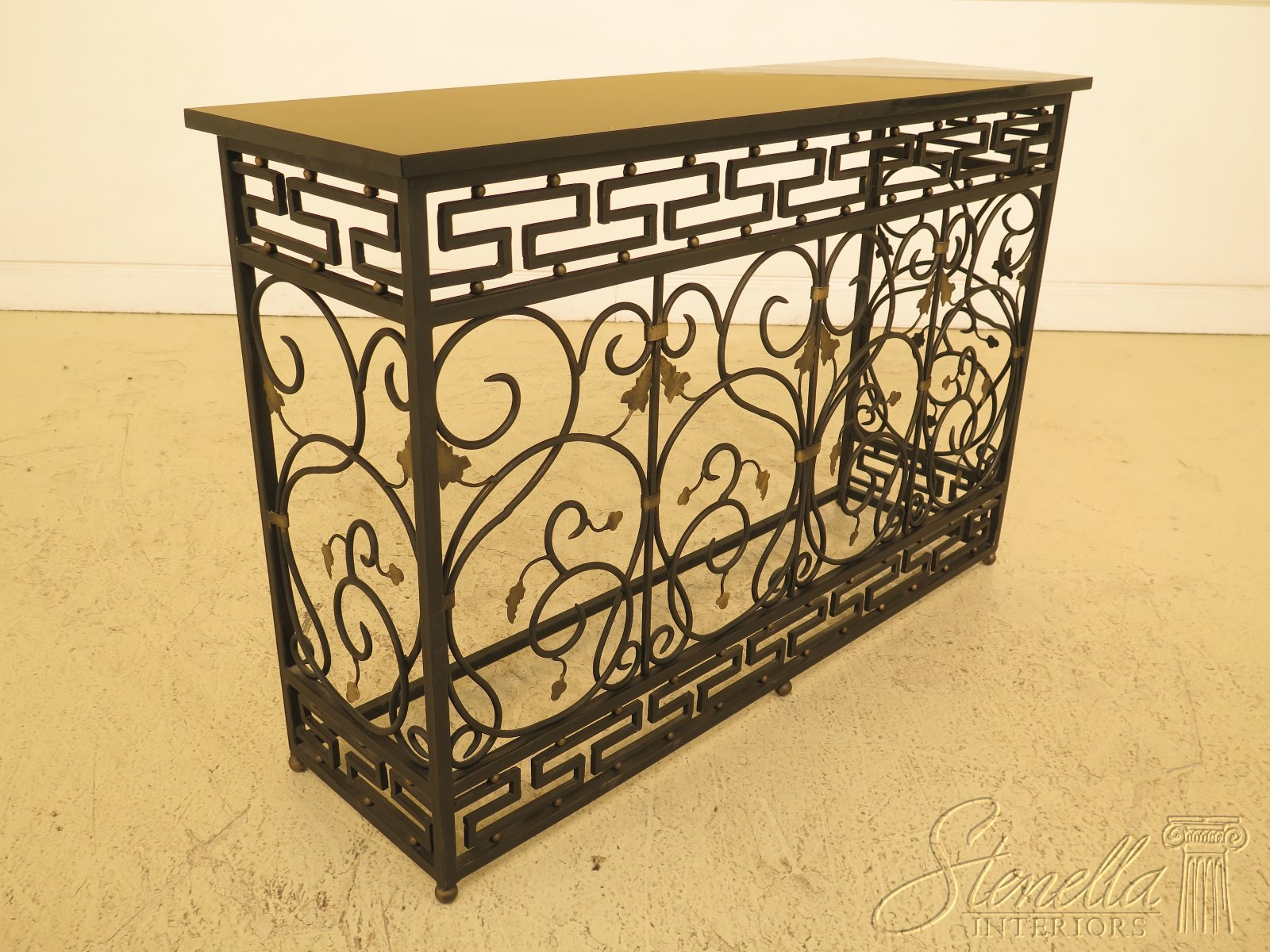 Details About 46573ec Granite Top Wrought Iron Base Console Hall Table