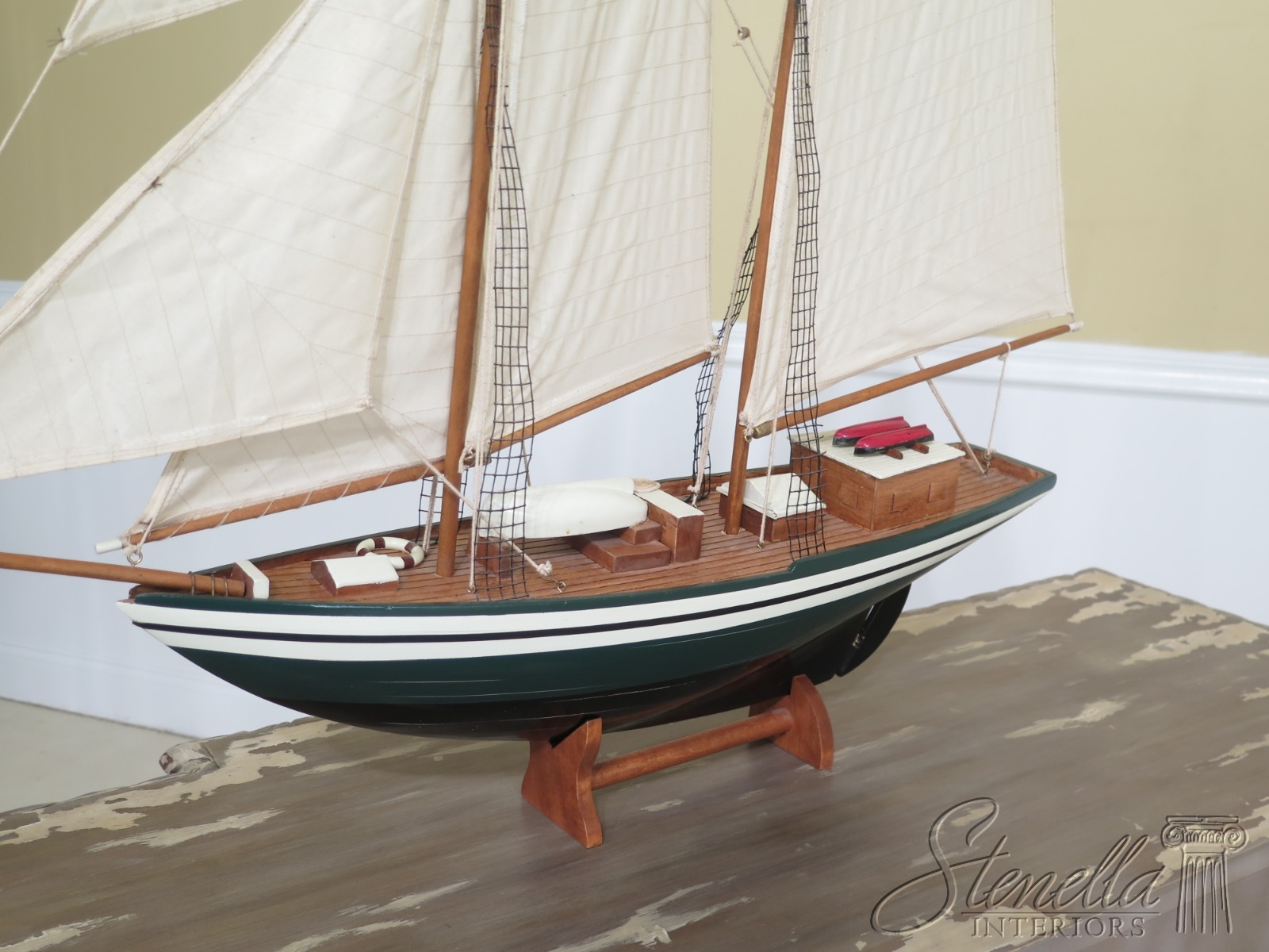 F48846EC: Handmade Model Schooner Sailboat