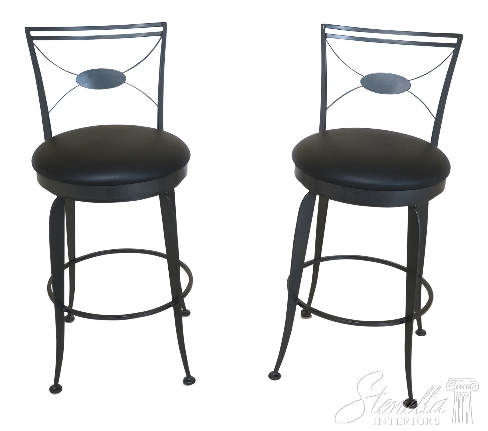 Pair of Mid Century Hair Pin Swivel Bar Counter Stools Chairs B