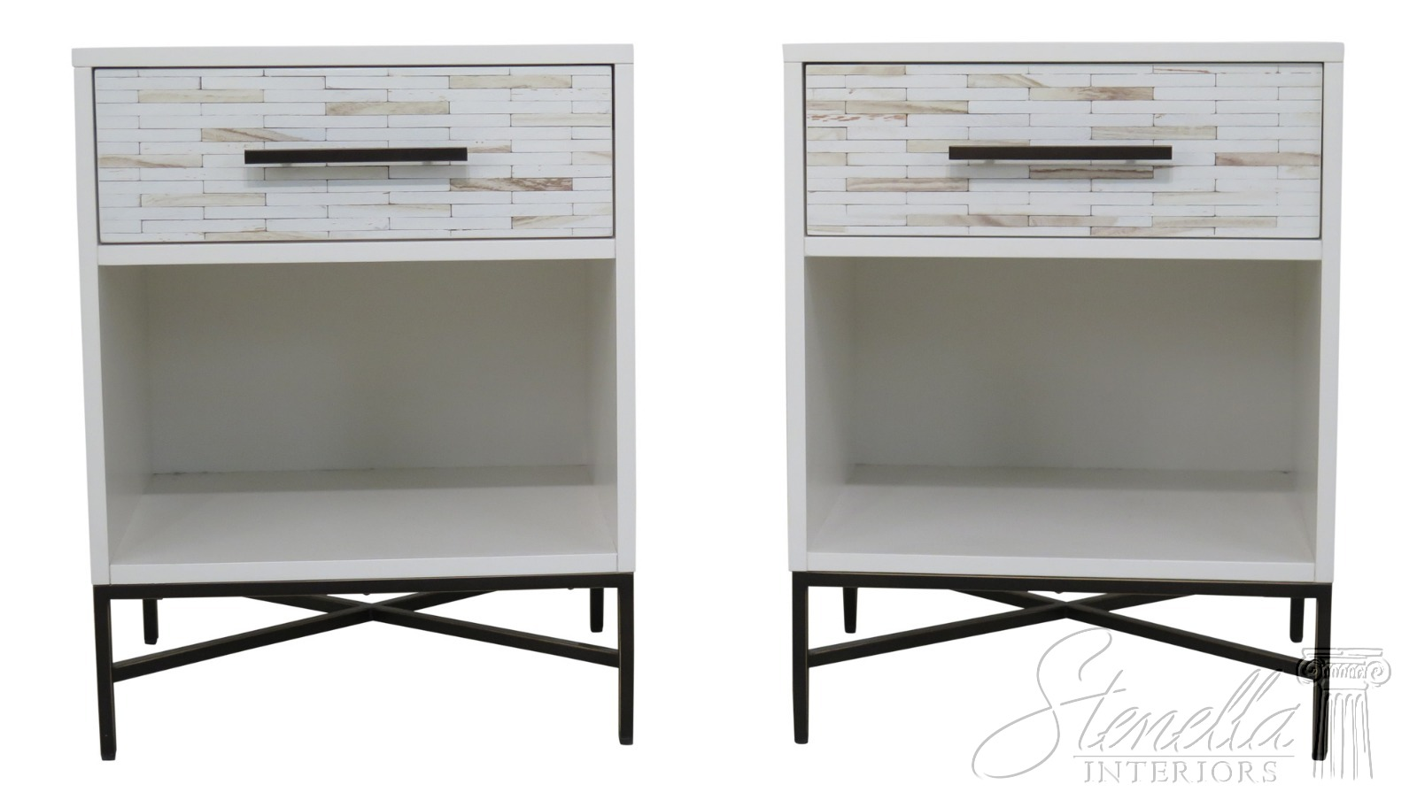 Details About F25650ec Pair West Elm Mid Century Modern Style 1 Drawer Nightstands