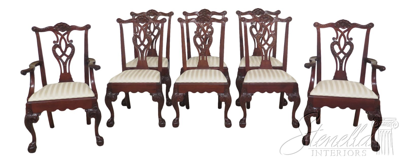 L47606ec Set Of 8 Baker Ball Claw Chippendale Mahogany Dining Chairs Ebay