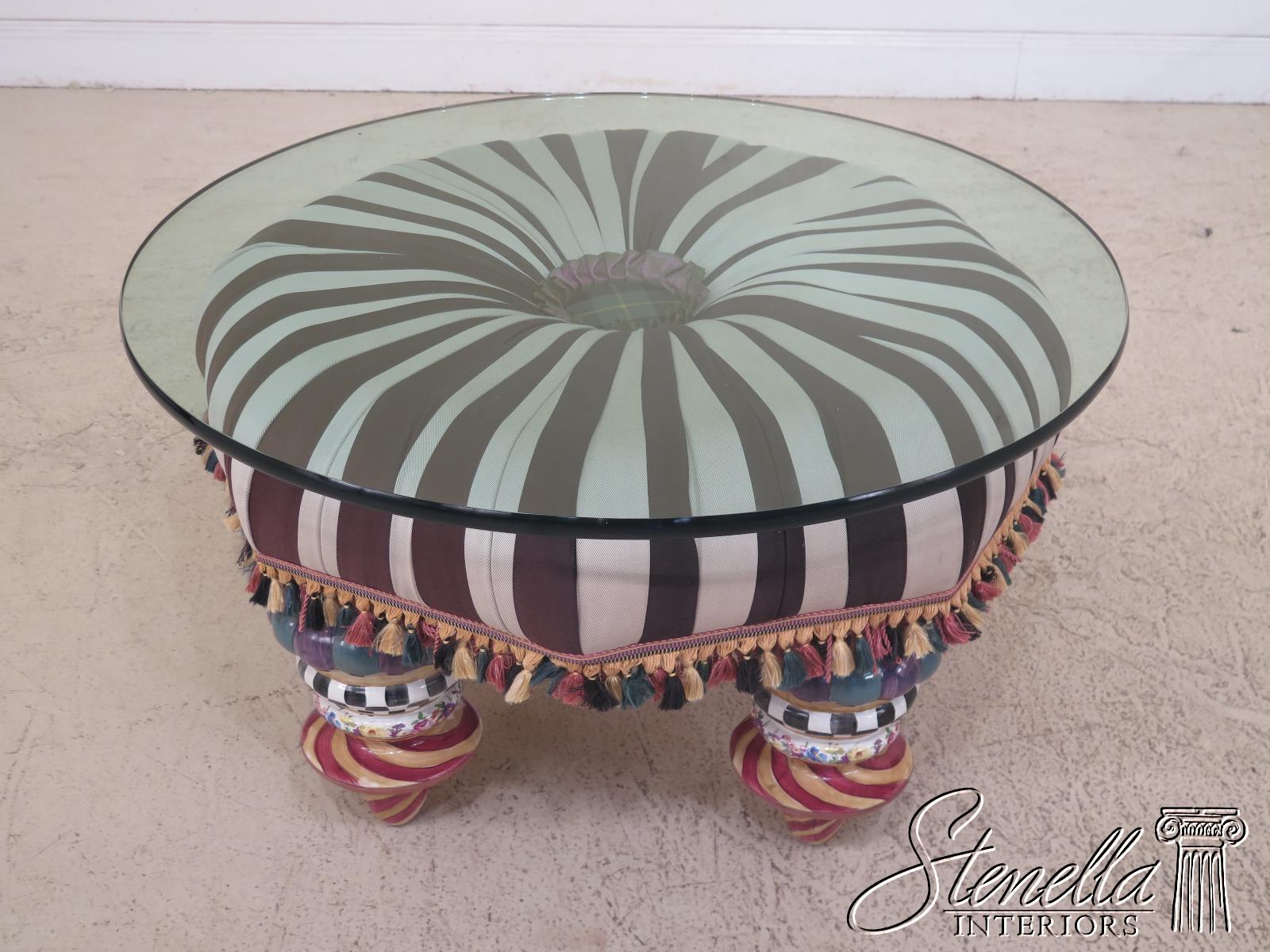 30895ec Mackenzie Childs Glass Top Round Coffee Table Ebay