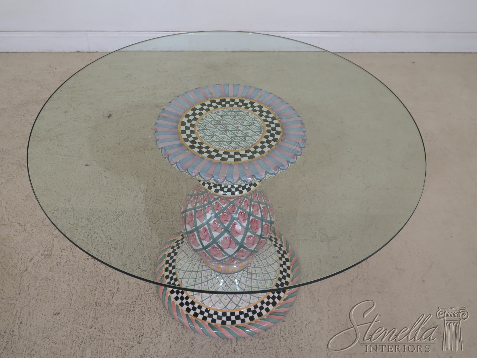 30891ec Mackenzie Childs Round Glass Top Pottery Base